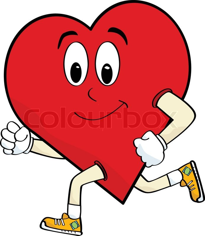 Cartoon Illustration Of A Heart Running To Keep Healthy Stock