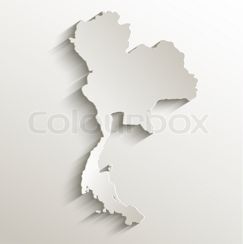 Thailand Map Card Paper D Natural Raster Blank Stock Photo - Thailand blank map