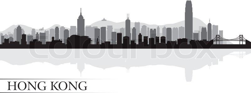 Hong Kong City Skyline Silhouette Background Vector