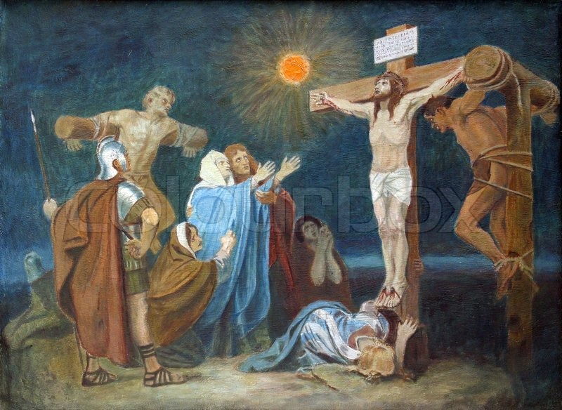 12th Station of the Cross, Crucifixion: Jesus is nailed to the cross ...