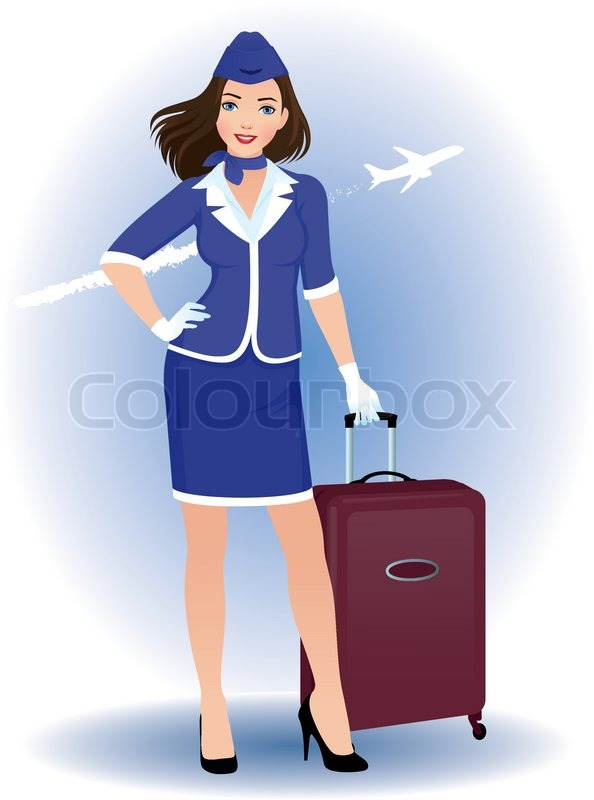 Stock vector of illustration of a young woman stewardess with luggage