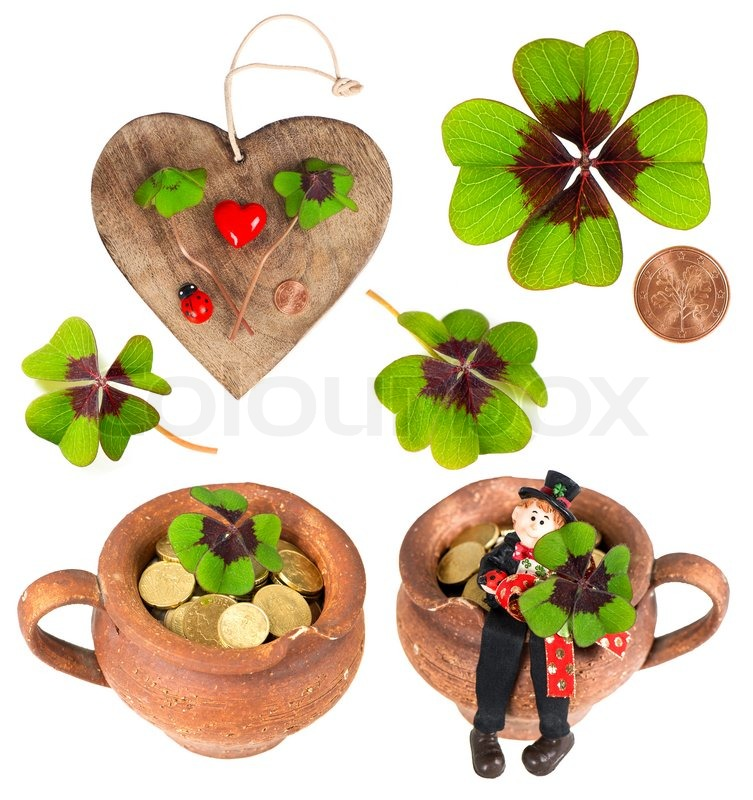 Wooden Heart With Symbols Of Luck Red Heart Coin Clover Shamrock