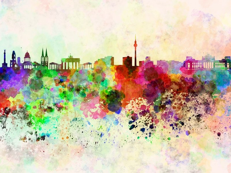 berliner skyline in aquarell hintergrund stockfoto colourbox. Black Bedroom Furniture Sets. Home Design Ideas