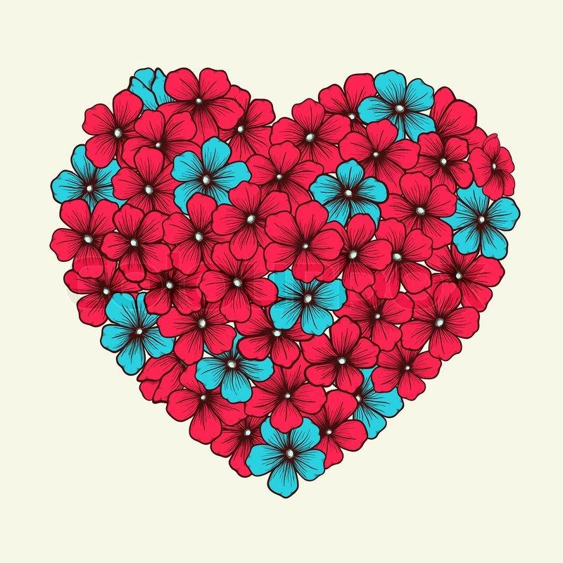 herz mit blumen in grafikstil retro rosa und blaue farben gemalt vektorgrafik colourbox. Black Bedroom Furniture Sets. Home Design Ideas