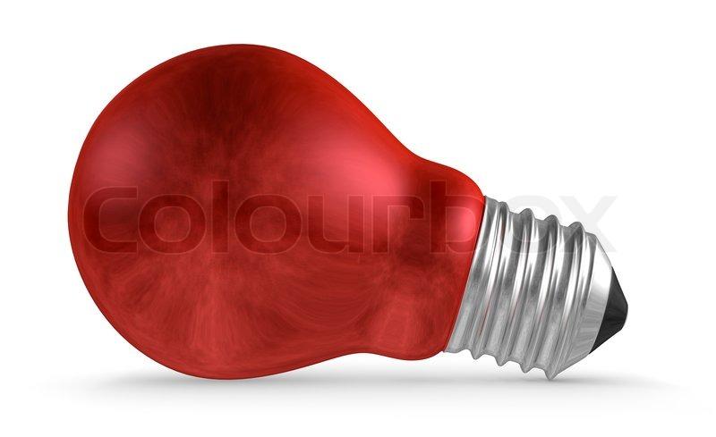 red light bulb lying isolated on white background stock phot