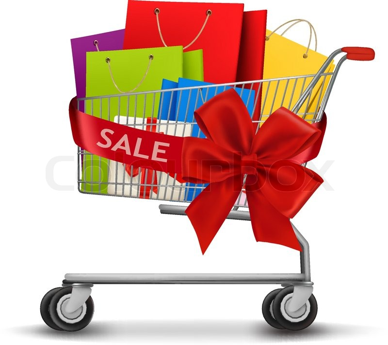 Shopping cart full of shopping bags and a gift bow. Concept of ...