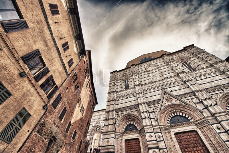 Siena, Italy. Beautiful view of famous medieval ...