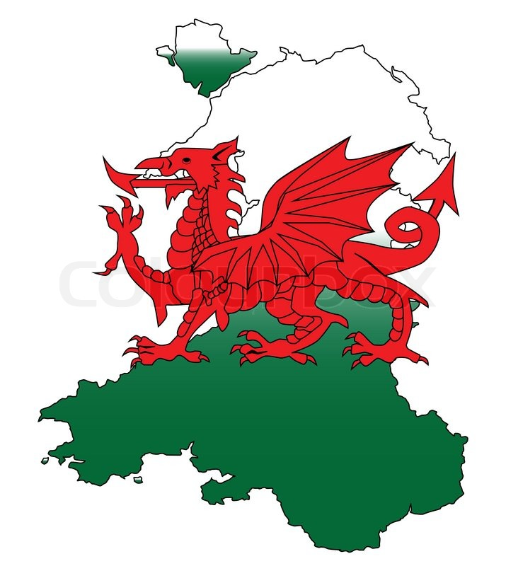Outline of Wales with a Welsh Dragon isolated on white ...