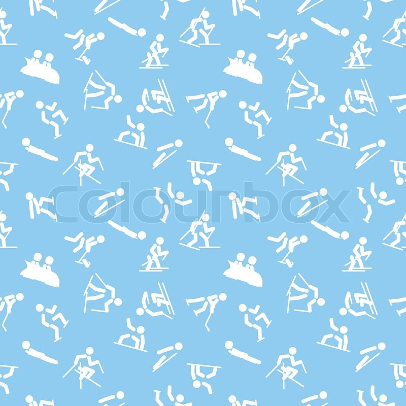 Seamless pattern with winter sports icons, vector