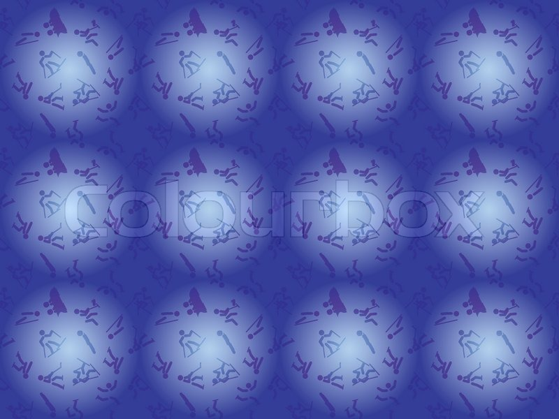 Blue seamless pattern with winter sports icons, vector