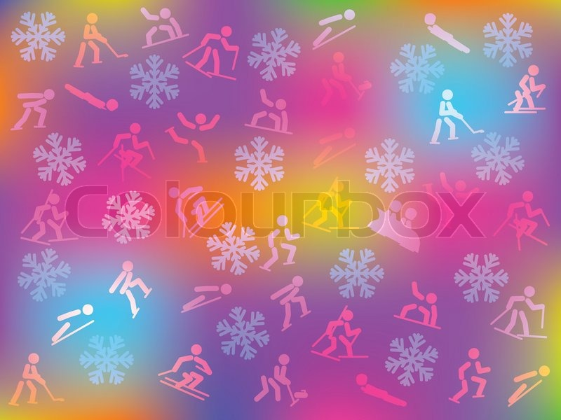 Colorful background with snowflakes and winter sports icons, vector
