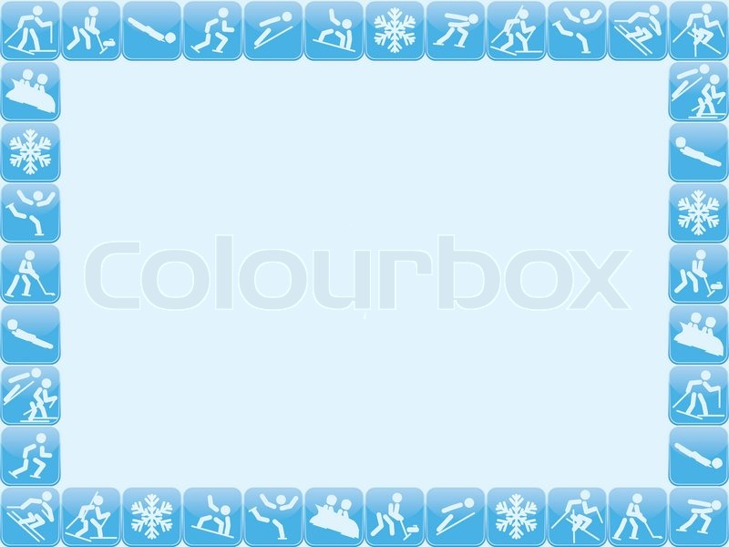 Background with winter sports icons frame, vector