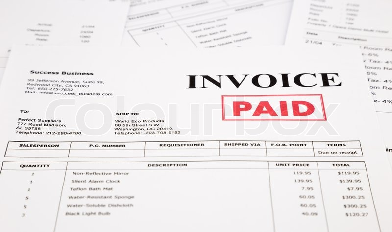 Closeup Invoice And Bills With Red Paid Stamp Document And - Invoice stamp