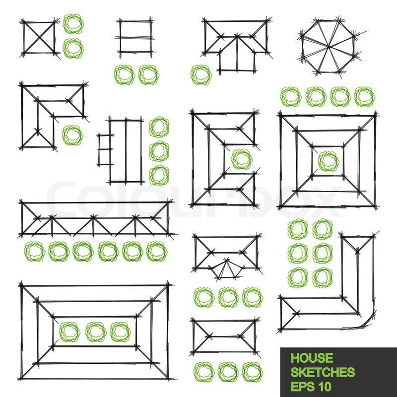 Legen sie verschiedene architektonische lineare skizzen von dach ansichten aus kleinen h usern - Architektonische hauser ...