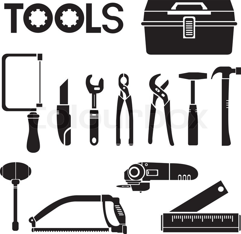 Electrician Tool Set >> Tools, mechanical equipment icon set, engineering tools | Stock Vector | Colourbox