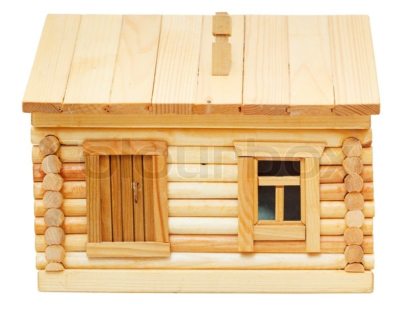 Front view of model of simple village wooden log house for Simple house front view