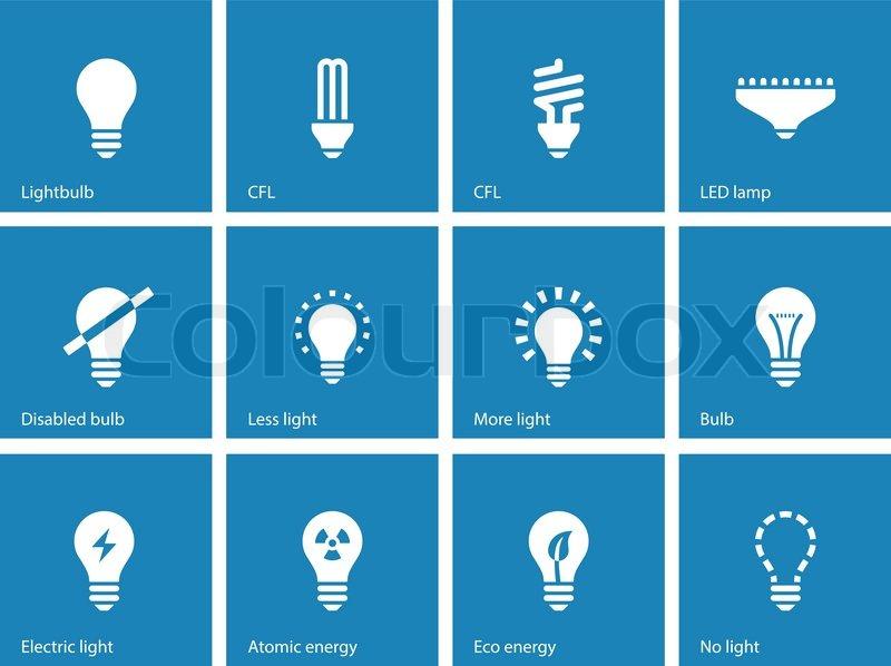 Glühbirne und Cfl Lampe Symbole auf blauem Hintergrund ...