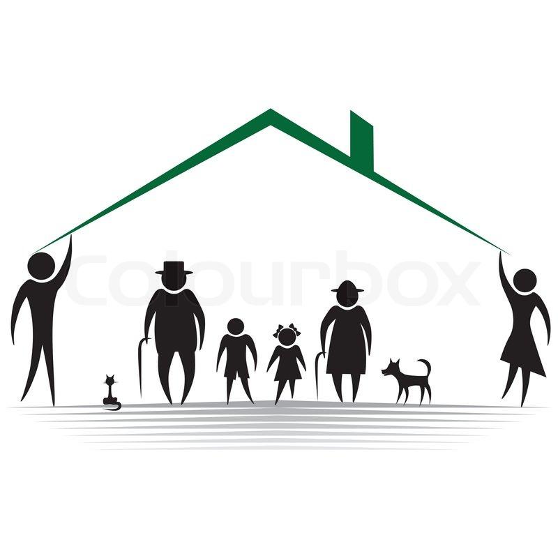 silhouetten von frau mann kind gro vater gro mutter familie vektor illustration element f r. Black Bedroom Furniture Sets. Home Design Ideas
