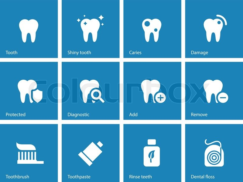 Dental icons on blue background. Vector illustration. | Stock ...