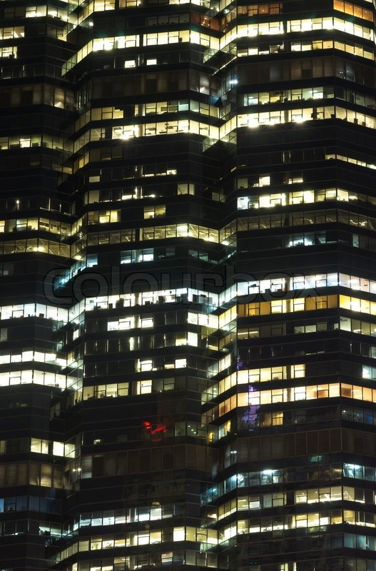 Closeup Bangkok cityscape Modern building at night time,Thailand, stock photo