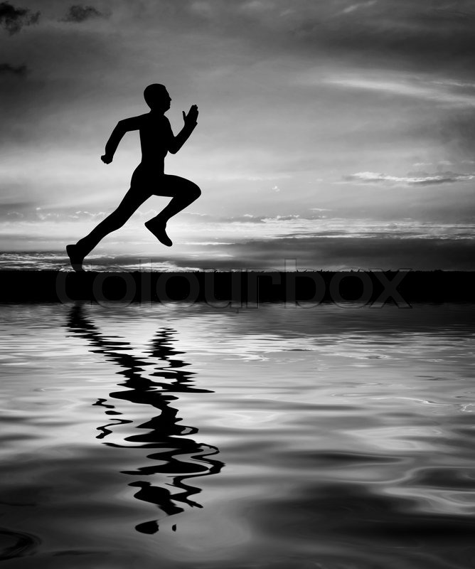 Silhouette Of Running Man Against Sky At Sunset Water Reflection Black And White Element Design