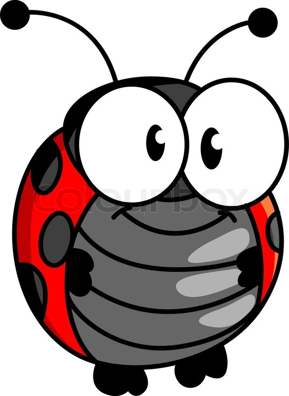 red and black spotted smiling happy little ladybug or ladybird in