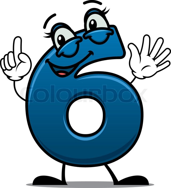 waving happy number 6 with an adorable smile raising a finger for attention cartoon vector illustration suitable for a kids birthday celebration stock