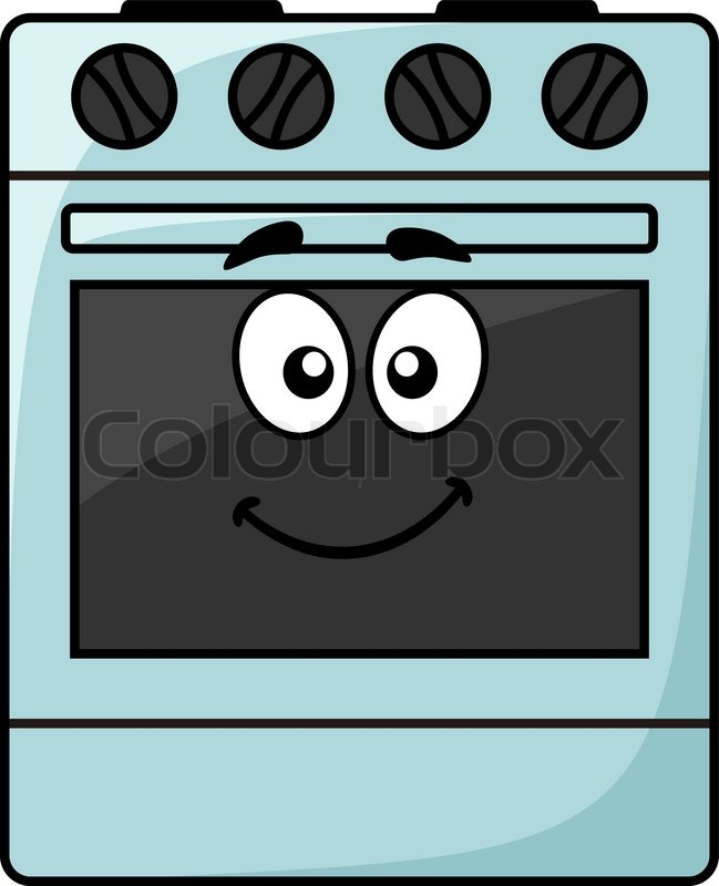 Cartoon Electric Cooker ~ Cartoon kitchen appliance a happy smiling freestanding