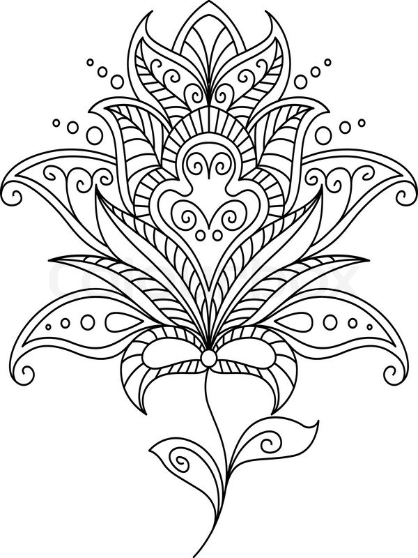 intricate dainty black and white floral motif design