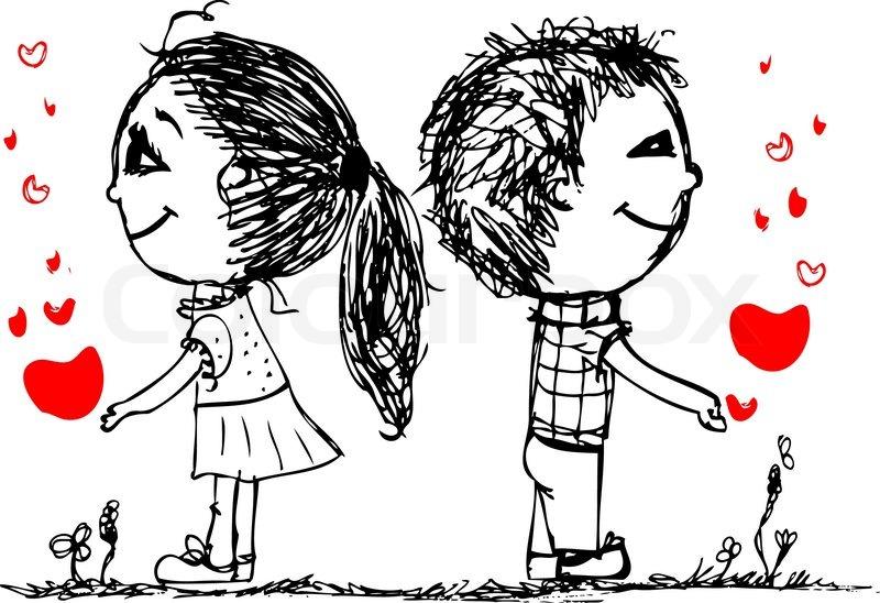 5e7630f66 Couple in love together, valentine ... | Stock vector | Colourbox