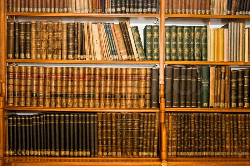 Old books in a old library, stock photo