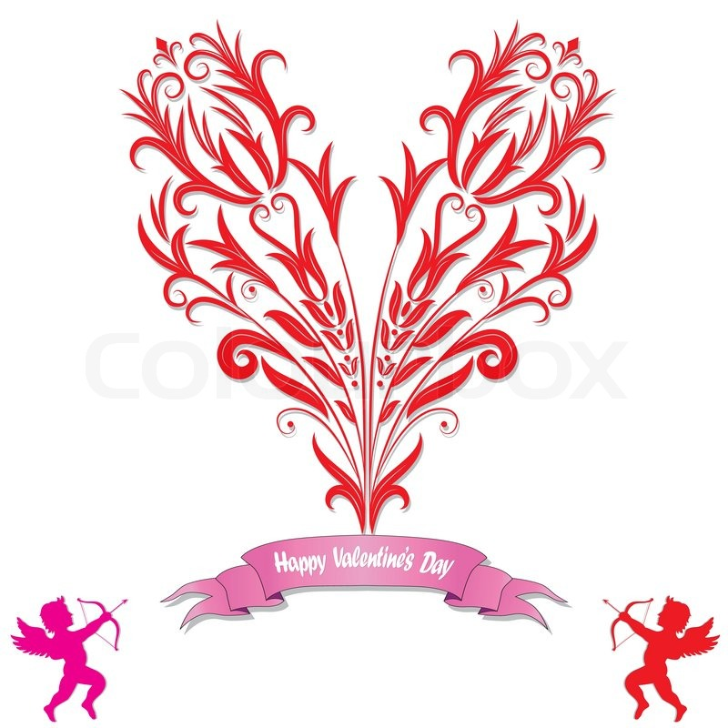 Heart Love Card Valentine Day Background With Flower Icon Ribbon