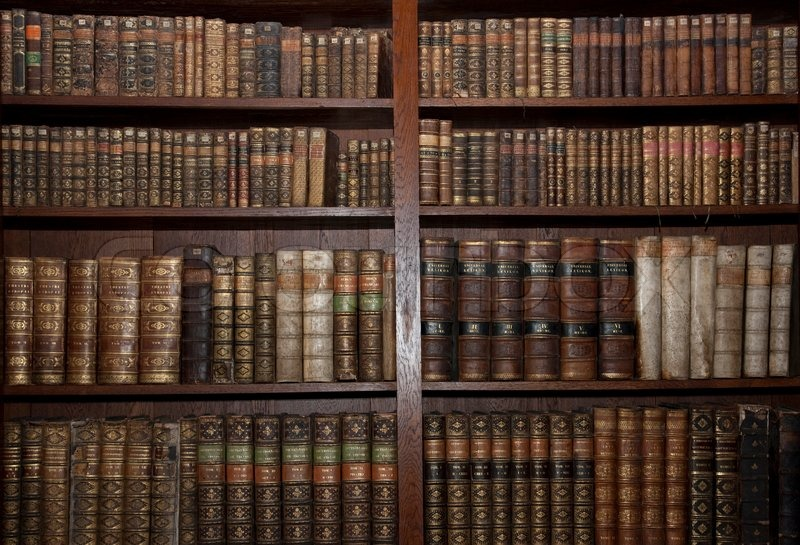 Historic old books in a old library, stock photo