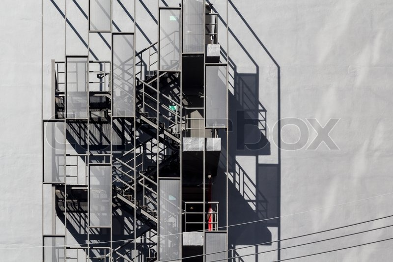 Fire Escape Metallic Staircase Outside Of Building, Stock Photo