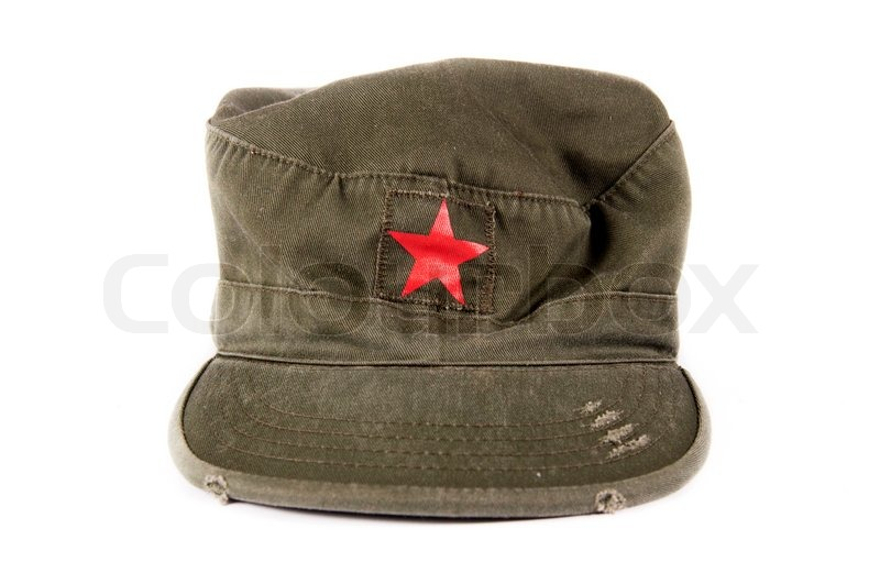 4ff9a40307d Cuban forage cap with red star isolated ...