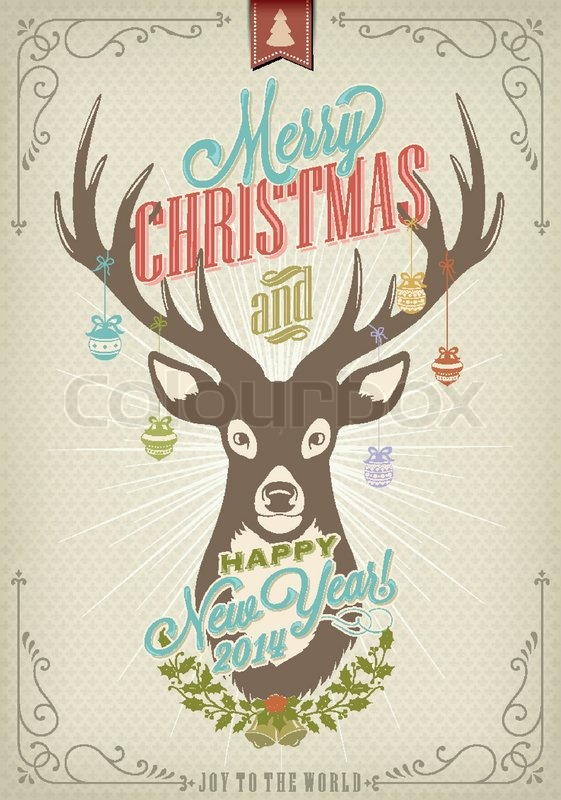i wish you a merry christmas vintage christmas background with deer stock vector colourbox