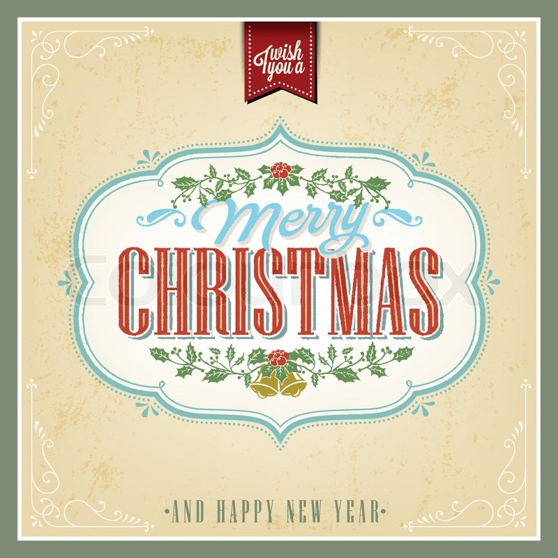 Vintage Christmas Light Vector Background With Typography Card Or Invitation