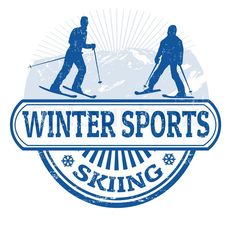 Winter sports skiing grunge rubber stamp on white, vector illustration, vector