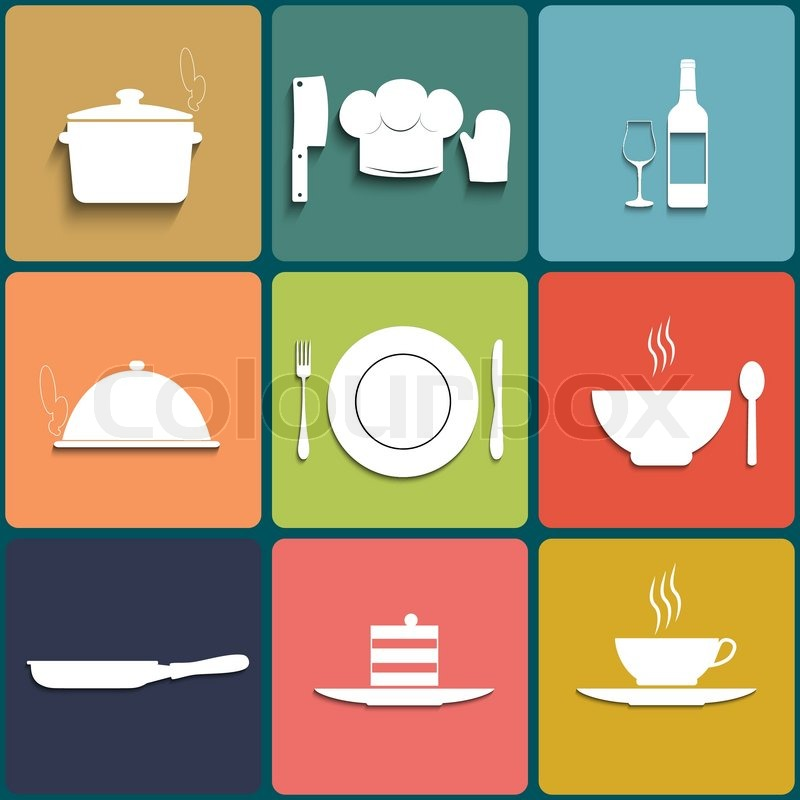 cooking and kitchen icons. set in flat design with long shadows