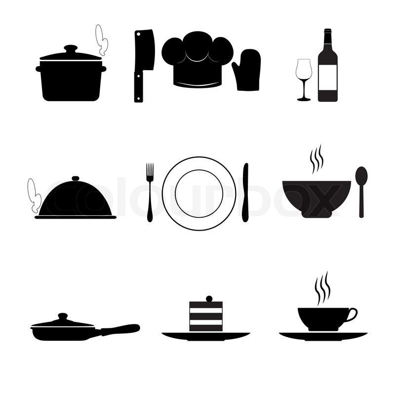 Küche Symbole | Kochen Und Kuche Symbole Schwarz Auf Weiss Vektorgrafik Colourbox