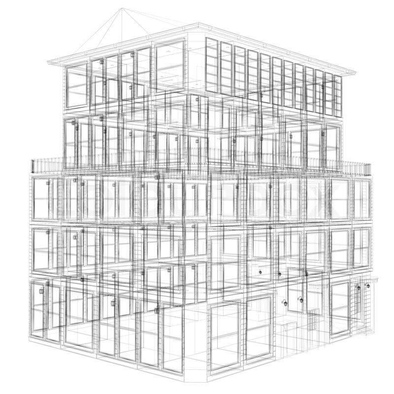 erspective view of wireframe seven storey building stock photo