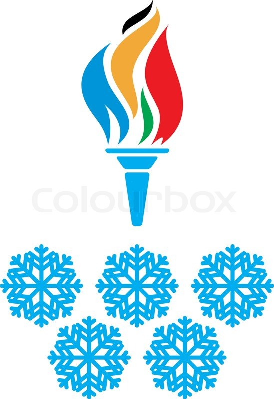 Olympic Symbols Torch And Rings Vtctor Stock Vector Colourbox