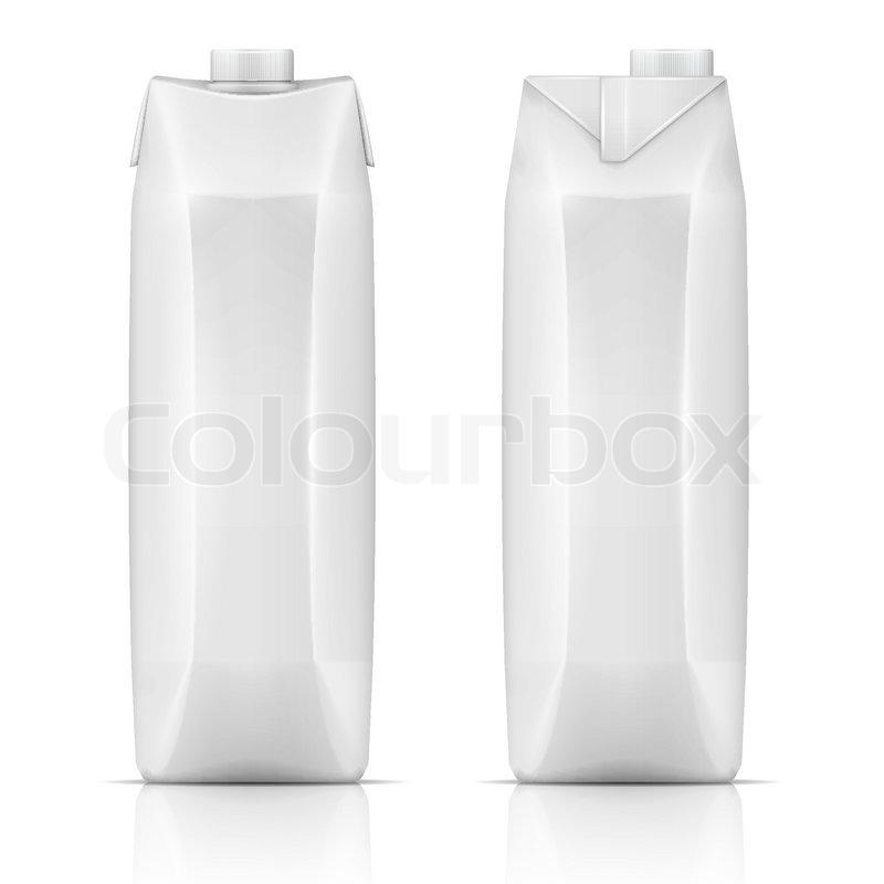 white tetra carton pack template for beverage  juice  milk