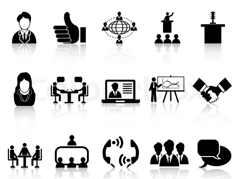 Isolated Black Business Meeting Icons Set From White