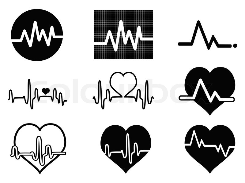 isolated balck heartbeat icons on