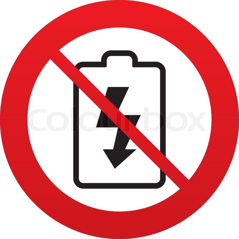 Keine Batterie aufladen Schild-Symbol. Leuchtzeichen.   Vektorgrafik ...