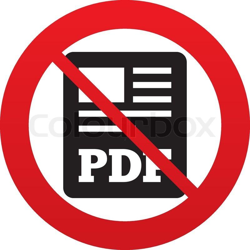 no pdf file document icon download pdf button pdf file symbol red
