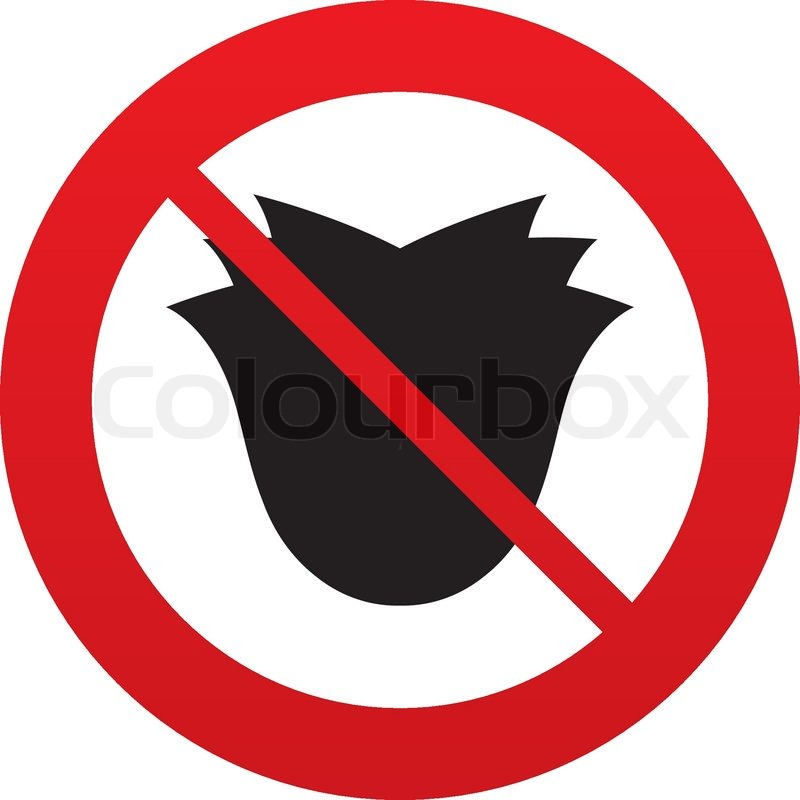 No Flower Sign Icon Rose Symbol Red Prohibition Sign Stop Symbol