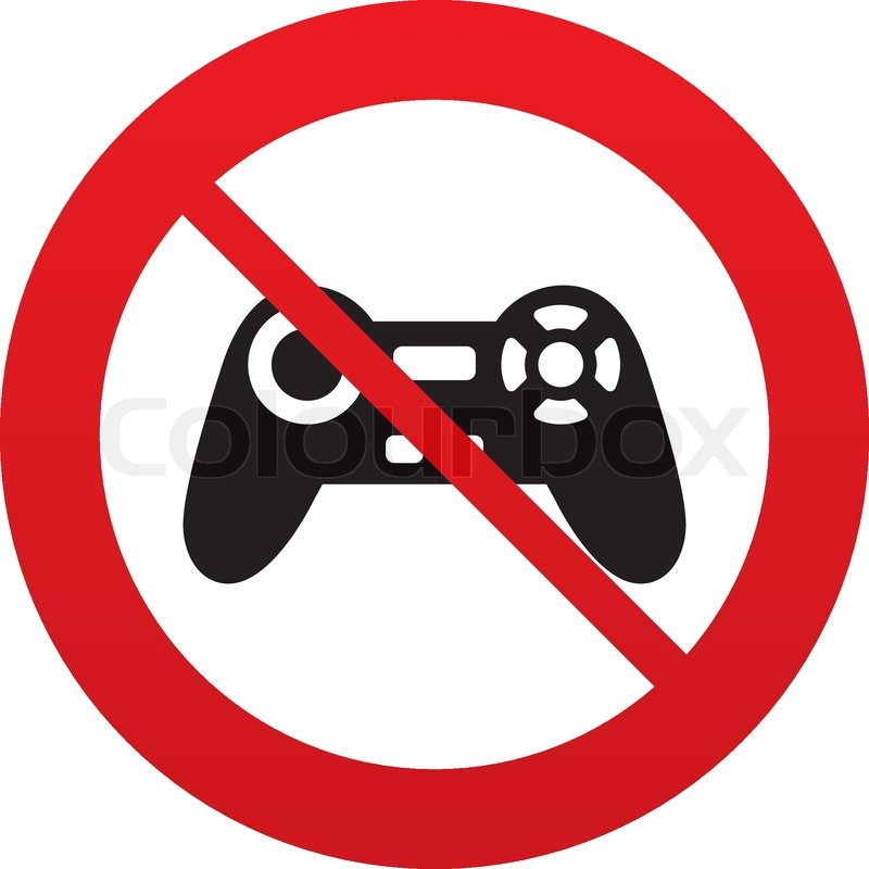 Don T Play Joystick Sign Icon Video Game Symbol Red