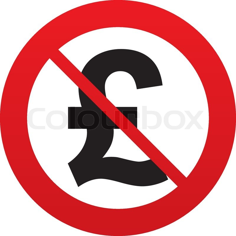 No Pound Sign Icon Gbp Currency Symbol Money Label Red